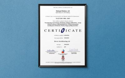 Meland Elektro ISO-sertifisert